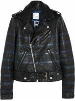 leather-each x other striped texturedleather biker jacket