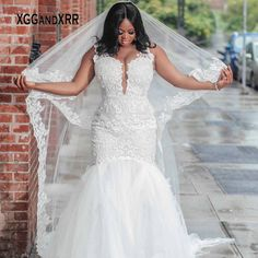 Lace Mermaid Wedding Dress, Cheap Wedding Dress, Wedding Dresses, Black Bride, Plus Size Wedding, Lace Applique, The Dress, Wedding Events, Illusions
