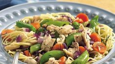Dinner ready in 20 minutes! Mix pasta, tuna and veggies to make this hearty skillet meal ready for four.