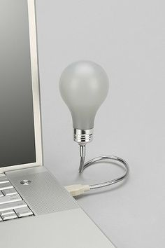 Handy little light propped up on a flexible metal cord - instantly illuminates when connected to any laptop or USB port. Lights up your keyboard, too!