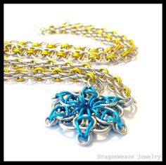 Blue Flower #Chainmaille Necklace by DragonweaveJewelry on Etsy, $27.00