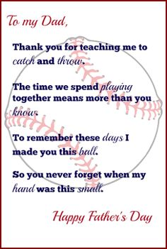 DIY Father's Day gift idea! Baseball themed father's day craft for kids including a free printable father's day poem. (Step Father Gifts)