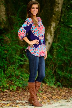 Seen It All Blouse, Navy from The Mint Julep Boutique