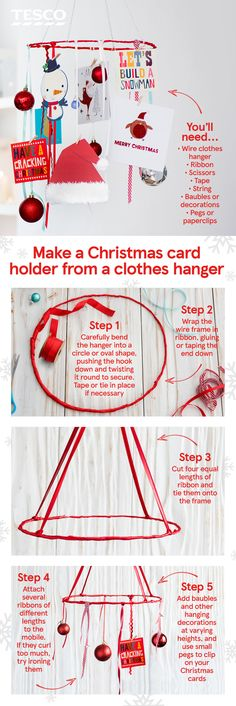 Make this super-easy card mobile using nothing more complicated than a wire coat-hanger and ribbon. Why not get the kids involved? It's the perfect craft activity for the Christmas hols. Christmas Room, Xmas, Christmas Ideas, Valentine Day Cards, Valentines Diy, Creative Crafts, Easy Crafts, Easy Diy Valentine's Day Cards, Hanger Crafts