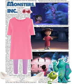 """monsters inc, boo."" by simmaaay ❤ liked on Polyvore"