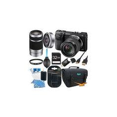 Sony NEX7K/B NEX-7 24.3 MP Black Camera 32GB Bundle w/ 18-55mm, 55-210mm  16mm lens