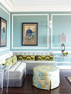 living room, egg blue, moss green
