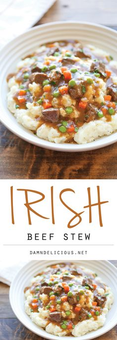 Pinned 2k times! Irish Beef Stew - Amazingly slow-cooked tender beef with garlic mashed potatoes - comfort food at its best, and something you'll want all year long!