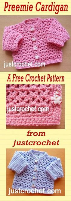 Free crochet pattern for premature baby cardigan.