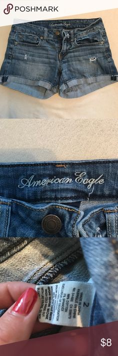 American eagle jean shorts Jean shorts. Cutest shorts I've ever owned. A bit too tight on me now. So comfy. Can be rolled up or down American Eagle Outfitters Shorts Jean Shorts
