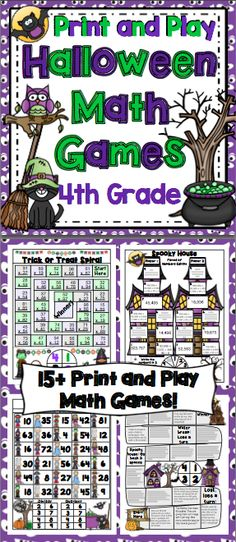 Halloween Math Games 4th Grade: Make math class something to look forward to this Halloween. This set of his set of 15+ no prep games, were designed to promote higher level thinking, be easy to play, and they are aligned to the Common Core Standards! $