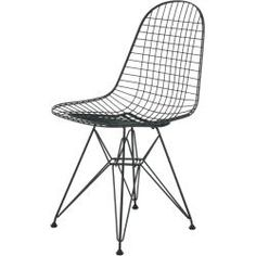 Dining chairs & kitchen chairs - Wire Chair Dkr basic dark new dimensions VitraVitra - Outdoor Deck Decorating, Decorating On A Budget, Charles & Ray Eames, Kitchen Chairs, Dining Chairs, Wire Chair, Hanging Beds, Panton Chair, Pantone