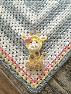 "Super cute blanket set with baby giraffe! Newborn blanket is 30"" x 30"" and hat fits 0-3 month. Toddler blanket is 40"" x 40"" and hat fits 18-24 month. Can be made for either girl or boy :)"
