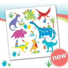 Dinosaur Party - Boy's birthday cards from Phoenix Trading  £1.75 per card or £1.40 when buying 10 or more.  Children, Children's birthday cards