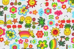 CAC0123 100% Cotton Fabric: All-Over Hawaiian Print Fabric