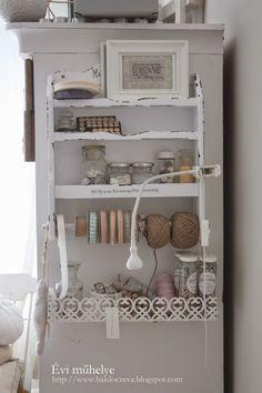 bardoczeva: Így festünk mi, avagy a szándékos kopottság Craft Station, Ladder Bookcase, Crafty Projects, China Cabinet, Shabby Chic, Shelves, Work Spaces, Pure Products, Create