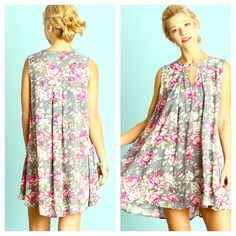 Floral Trapeze Swing Shirtdress NWT Fabulous quality swing dress! Love love LOVE this flirty and feminine style!  Fuschia floral print with front keyhole neck closure. Availability: 2S 2M 2L. Oversized fit. Color is GREY.  Pleated Maxi Tunic Dress. Striped floral rows pattern. Marled. Eyelet. Pink Crochet. Fuschia floral print lilac White Eyelet. Shirt dress. Pastel Sheath FashionBohoLoco Dresses Maxi