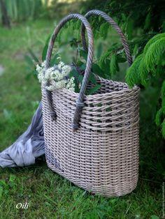 """Купить сумка плетеная """"Каприз"""" - серый, сумка ручной работы, сумка женская, плетеная сумка"""