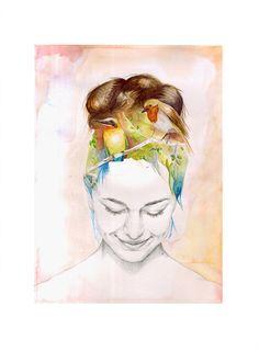 Chica con pájaros en la cabeza Ilustración por naranjalidad en Etsy, €15.00