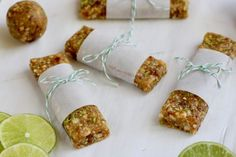 No-Bake Key Lime Energy Bars (aka 'Homemade Larabars') are made with just 5 ingredients and pack that tart and zesty punch you love. Paleo & Whole30