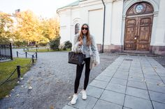 Faux fur from Band of outsiders, Zara tights, Jennie-Ellen shoes, H&M hat, Asos sunglasses and Céline bag | Kenza Zouiten
