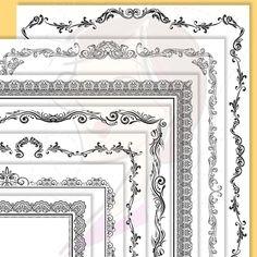 Page Border Certificate Frames Vintage Borders great as Award Diplomas Document Portrait Digital 8x11 Antique Heritage Old Page Frames 10191 #ScrapbookingPageBorders #VintagePageDecoration #CertificateFloralFrames