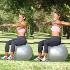 HIGH ROW  WORKS: SHOULDERS AND UPPER BACK    Anchor the center of a resistance tube at chest height in front of a stability ball. Sit on the ball and hold both handles shoulder-width apart at chest height in front of you, palms facing the ground (tube should be taut) [A].    Bend elbows, drawing hands toward shoulders [B]. Return to starting position and repeat. Do 15 to 20 reps.