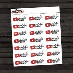 YouTube Binge Planner Stickers   for use with Erin Condren Lifeplanner™, Filofax, Personal, A5, Happy Planner by SaucyStickersCo on Etsy https://www.etsy.com/listing/528950479/youtube-binge-planner-stickers-o-for-use
