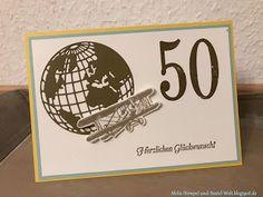 Stampin Up, Geburtstags Karte, Birthday Card, Mann, Man, Runder, Welt, Flugzeug, Hoch hinaus, So viele Jahre, Große Zahlen, Schlicht, Neutral,