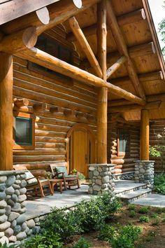 holzhaus bauen mit vorbau veranda selber bauen steine