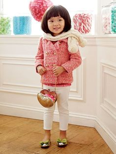 From cozy cableknit sweaters to polished velvet jackets, Katherine Heigl's little girl is quickly becoming one of Hollywood's cutest mini style-setters. Recreate her adorable vibe with a tweed coat, ruffle top, cropped trousers and metallic flats from Gap Kids.