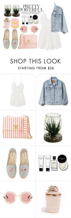 """#341"" by vilte-m ❤ liked on Polyvore featuring MANGO, Gap, Chanel, Soludos, Bobbi Brown Cosmetics, Gucci, Jay Strongwater and Sunnylife"