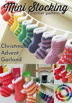Crochet Christmas Stocking Pattern, Crochet Stocking, Crochet Christmas Decorations, Crochet Christmas Ornaments, Crochet Decoration, Christmas Knitting, Crochet Gifts, Christmas Crafts, Christmas Christmas