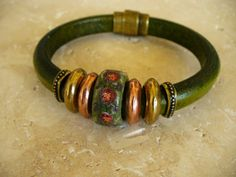 Regaliz Leather Bracelet Distressed Green with by MituDesigns, $43.00
