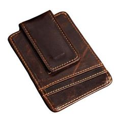 Money clips vintage genuine leather front pocket clamp for money holder magnet magic money clip wallet with card ID Case