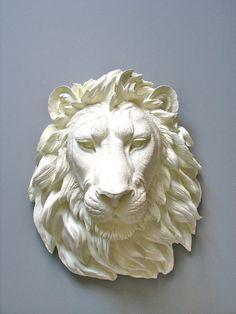 Faux Taxidermy Lion Head Wall Decor, Leonard the Lion. $120.00, via Etsy.