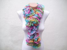 Purple yellow pink Knit Scarf Winter Accessories  Frilly by nurlu, $25.00~REMINDS ME OF EASTER EGGS!
