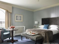Classic Queen bedroom in the Killarney Park Hotel in the Irish County of Kerry. Queen Bedroom, Morrisons, Park Hotel, Staging, Entryway Bench, Irish, Hotels, Classic, Furniture