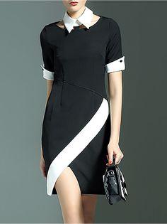 Asymmetric Color Block Mini Dress