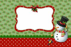 Snowman and Santa: Free Printable Invitations, Cards and Photo Frames.