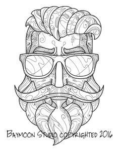 Hipster Bearded Man Coloring Page Printable by BAYMOONSTUDIO