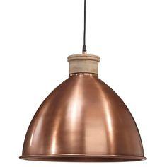 Taklampa i koppar - kopparlampa - lampa i metall o trä