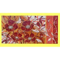 """Quadri Floreali """"Papavero Astratto extra"""". Materico acrilico su tela. Dim 70x140"""