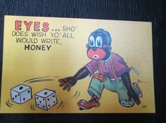 Black Americana Postcard--valentines reminiscent of slavery were popular and featured highly derogatory jokes.