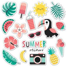 Set of colorful tropical summer stickers toucan blush mint. Photo about mint badge cute patch palm flower cream hawaiian element hawaii pink pineapple leaves - 116448417 Planner Stickers, Journal Stickers, Stickers Kawaii, Cool Stickers, Laptop Stickers, Carta Collage, Homemade Stickers, Bubble Stickers, Doodles