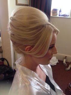 Bridal hair messy beehive textured blonde wedding