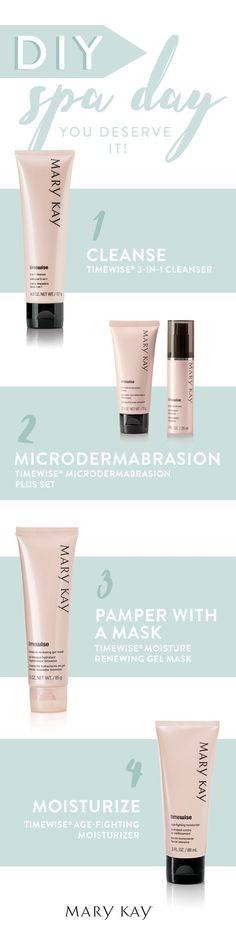 A day of pampering in the comfort of your own home. Have your very own DIY spa day with these TimeWise® products! | Mary Kay