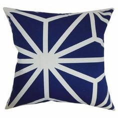 "Cotton pillow with a geometric motif and down feather fill. Made in the USA.  Product: PillowConstruction Material: Cotton and down fillColor: SapphireFeatures:  Made in the USAInsert included Dimensions: 18"" x 18""Cleaning and Care: Spot clean"