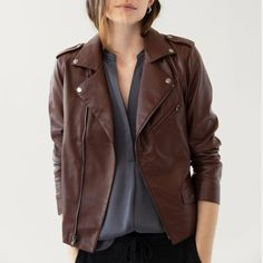 Fall Wardrobe, Capsule Wardrobe, Tan Leather Jackets, Brown Jacket, Warm Sweaters, Teen Fashion Outfits, Vegan Leather, Lounge Wear, Cute Outfits