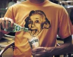 ILLUSN.com: Einstein Likes Perrier - Funny Optical Illusion - The Einstein Art printed on the tee shirt comes to life when it merges with the Perrier filled glass in front.... that's an intentionally clicked photograph to generate awesome illusion.